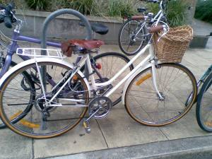 Bike with basket at city campus