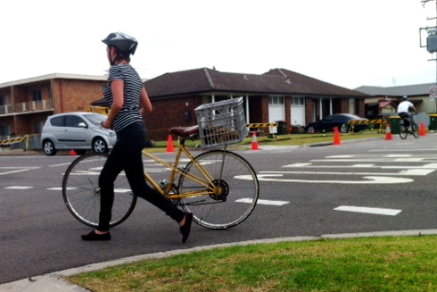 Woman cyclist during BikesCount today