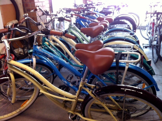 Town bikes at Maurice Mathe's
