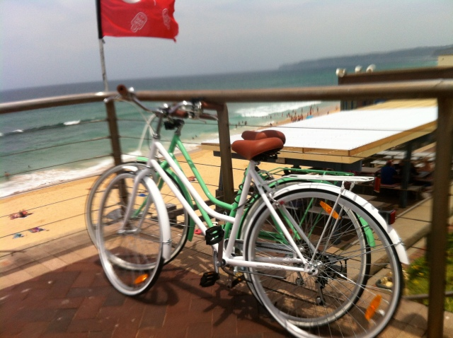 Girls bikes at Bar Beach