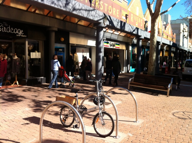Folding bike in Hunter Street Mall