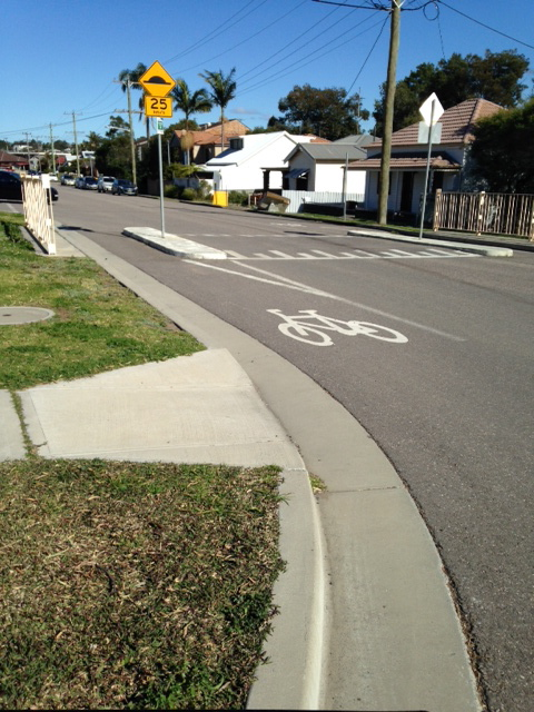 The existing bike lanes on Teralba Road