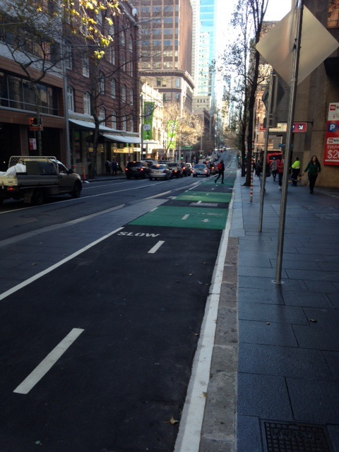 Another section of the Kent St bike lane, Sydney