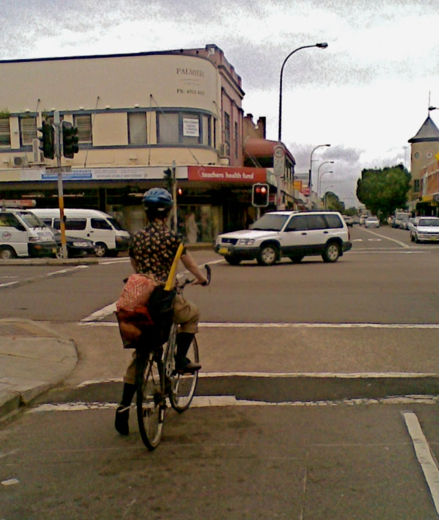 Woman cyclist Hunter Streeet Newcastle